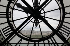 The view through the clock inside the Museé d'Orsay in Paris, France. June 2015.