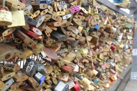 The love lock bridge in Paris, France. June 2015.