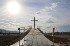 A cross was built on the border of Ciudad Juarez, Chihuahua, Mexico and El Paso, Texas for Pope Francis' to bless those on the other side of the border. February 2016.