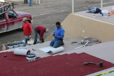 Construction workers assemble the stage for Pope Francis' mass in Ciudad Juarez, Mexico days before his arrival. February 2016.