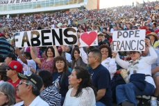 People gather at the Sun Bowl Stadium in El Paso, Texas for a live stream of the Pope's mass on the other side of the U.S.-Mexico border in Ciudad Juarez. February 2016.