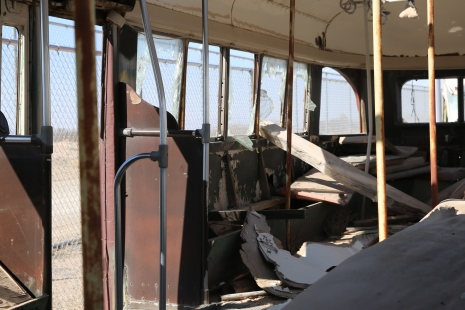 An abandoned street car in El Paso, Texas. The street cars used to take commuters across the border to and from Ciudad Juarez, Chihuahua, Mexico. February 2016.